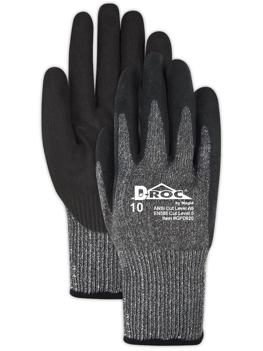 Magid Safety Cut Resistant Gloves | Level 5 Protection Lightweight Touchscreen Capable Nitrile Coated Work Gloves - Size 8, Black/Grey (1 Pair)
