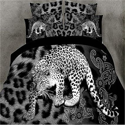 Leopard 4Pcs Animal Print Duvet Cover Comforter Queen Size Bedding Set