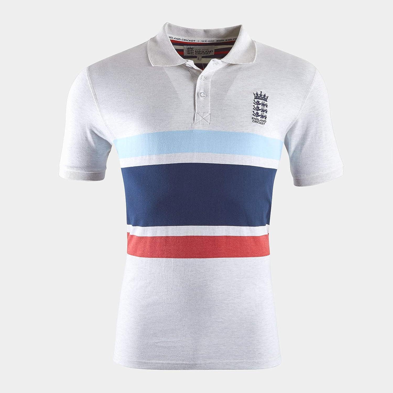 England Cricket Mens Patriotic Marl Stripe Polo