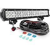 Nilight Barra de luz LED de 20 Pulgadas, 126 W, Combo de Luces LED de Carretera con Kit de arnés de cableado de 16 AWG…