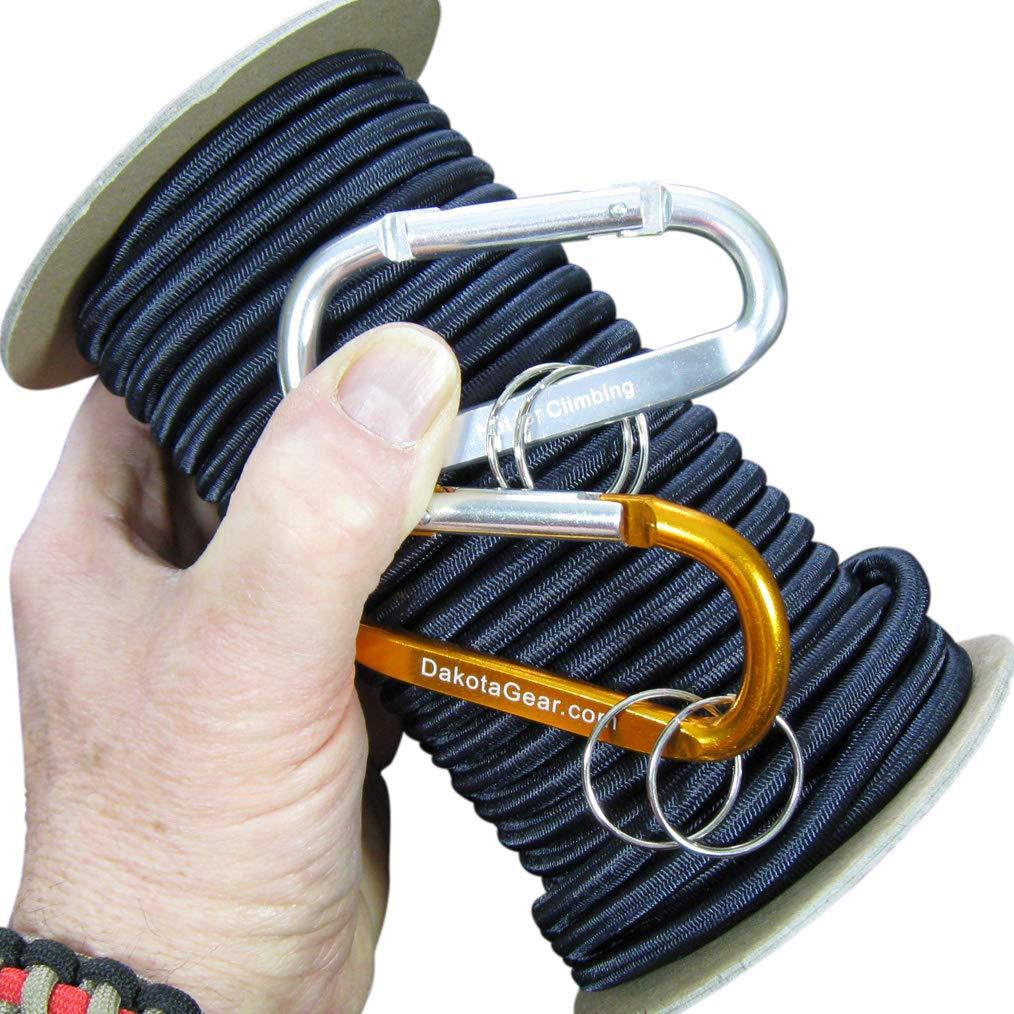 Dakota Gear (TM) Shock Cord - U.S. Navy Seal Midnight Blue 1/8'' x 50 ft. Hank. Marine Grade. Also Called Bungee Cord, Stretch Cord & Elastic Cord. Made in USA. 2 Carabiners and Knot Tying eBook. by Dakota Gear (TM)