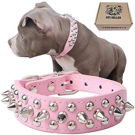 Teemerryca Collare Per Cani Grandi Rosa Collare Cane Borchie Pelle
