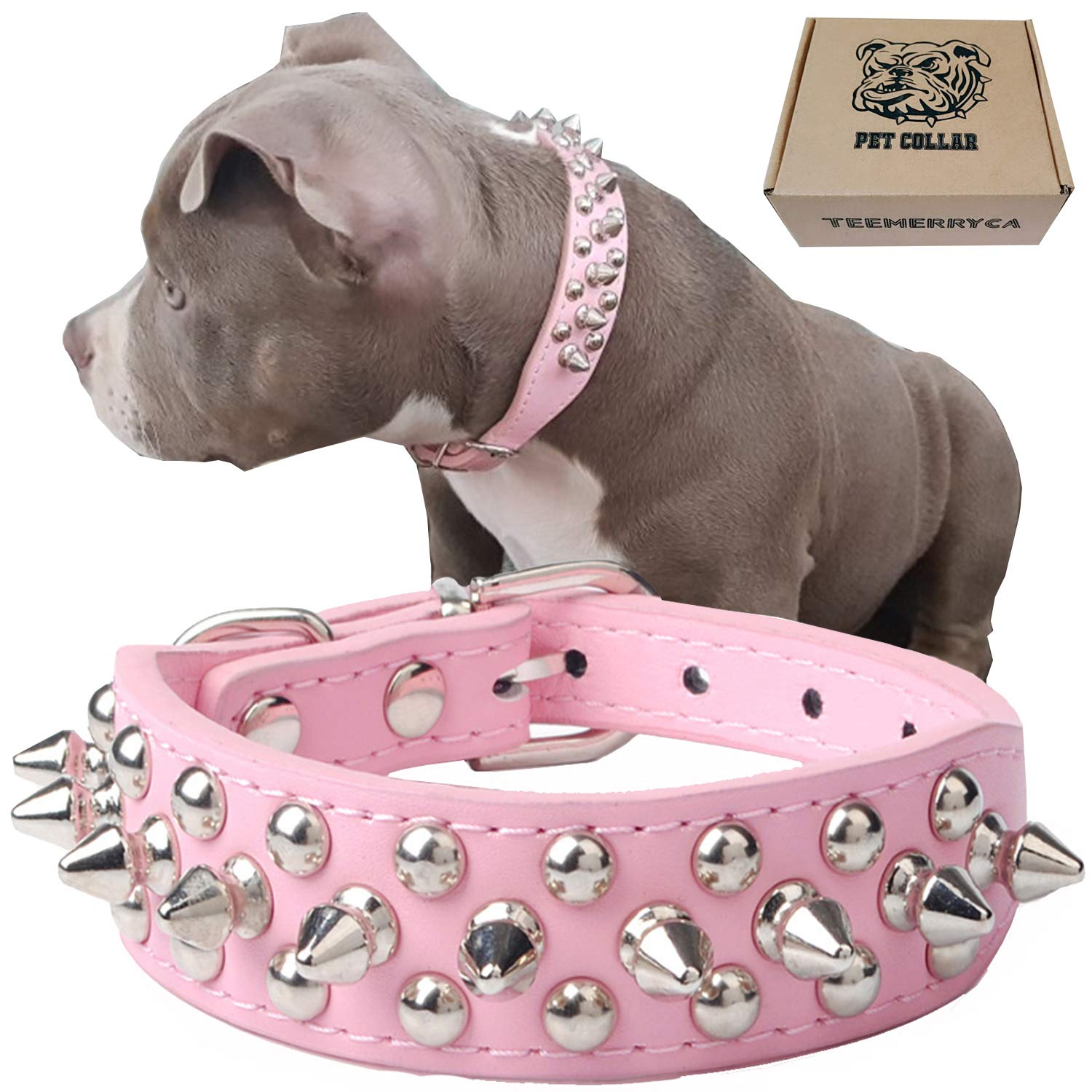 teemerryca Adjustable Leather Spiked Studded Dog Collars with a Squeak Ball Gift for Small Medium Large Pets Like Cats…