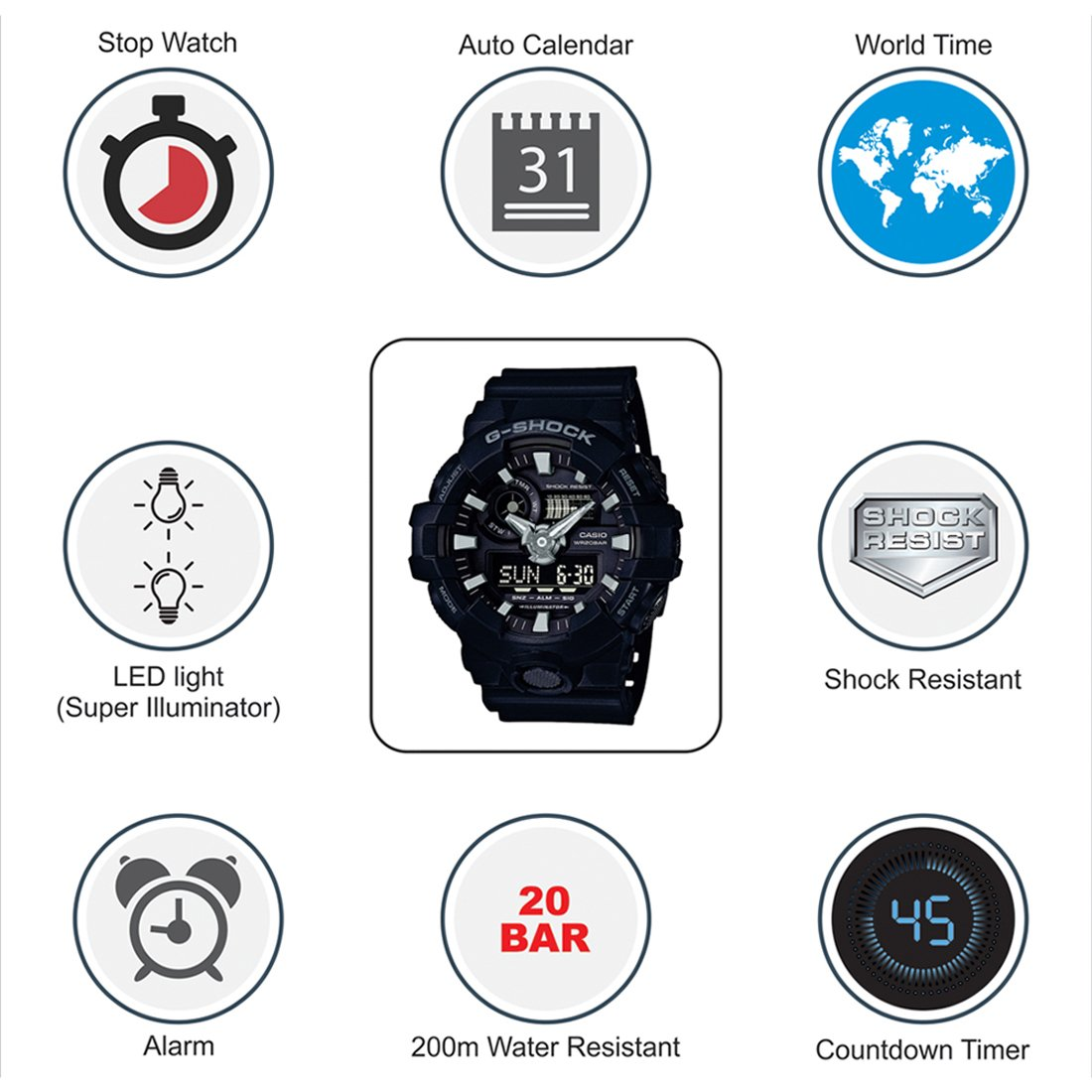 1459c37a8 Buy Casio G-Shock Analog-Digital Black Dial Men s Watch - GA-700-1BDR  (G715) Online at Low Prices in India - Amazon.in