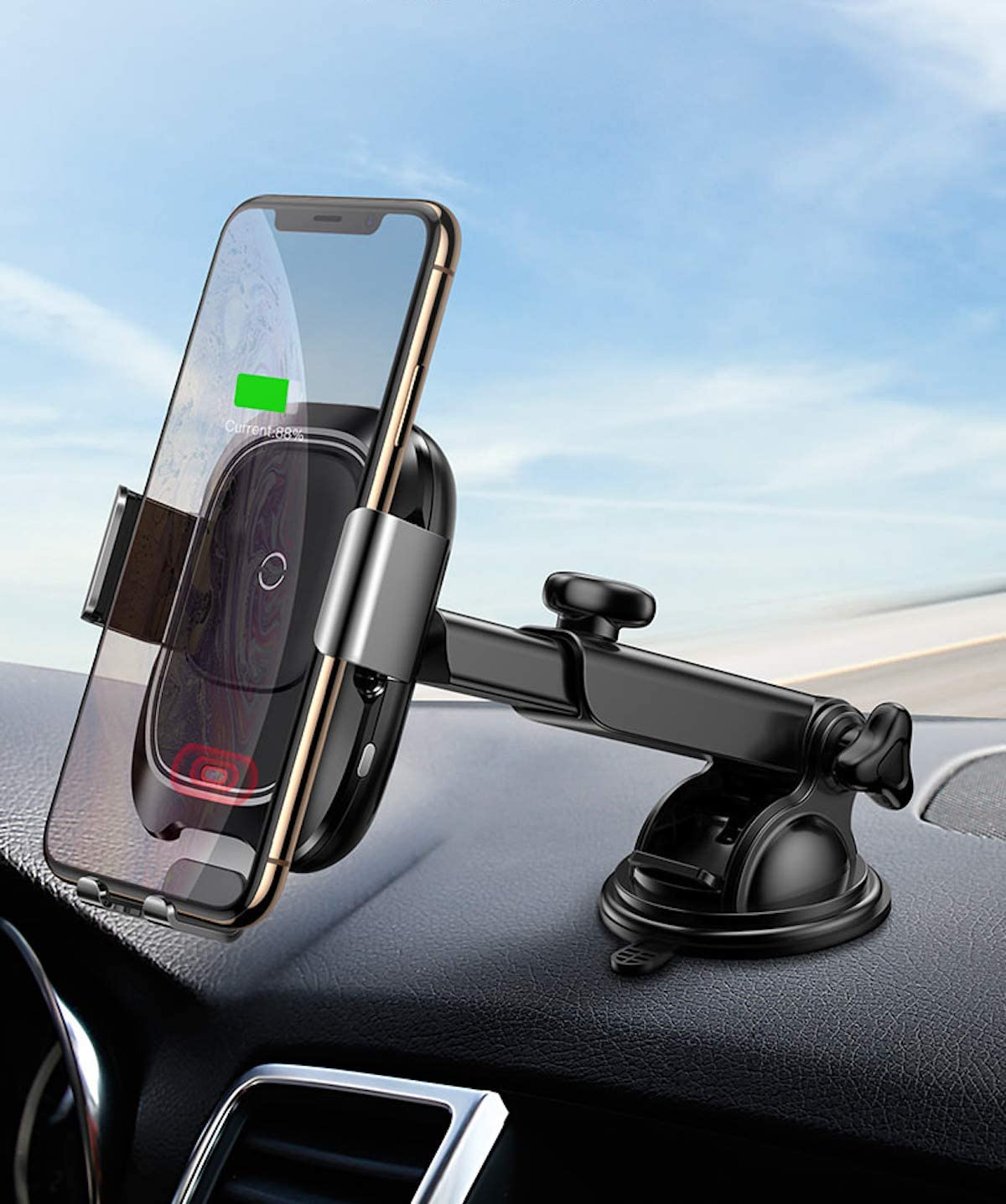 Decbird Wireless Charging car Mount|qi Wireless car Fast Charger Mount|Phone Holder for car|car Phone Mount Wireless Charger|Compatible with IphoneX//8plus//Samsung S8//S9//Note9 Dashboard Mount
