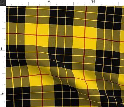 573e830c5e48b Amazon.com: Spoonflower Yellow and Black Plaid Fabric - Yellow Black ...