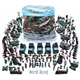 SHUNDATONG 1:42 Scale Big Bucket of 307 Pieces/Set Plastic Civil War Army Men Toy Soldier Set Action Figure Tank Playset Model Handbag Kit for Kids Ages 3 and up Cake Topper