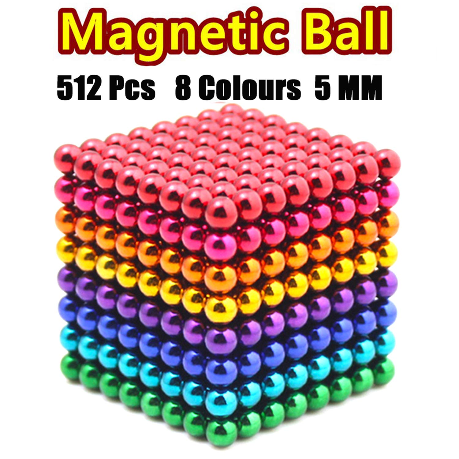 JIAKELOVEYI 8 Colors 512 Pcs of 5MM DIY Magnets Toys Magnetic Fidget Blocks Building Blocks for Development Learning and Stress Relief Office Desk Toys for Adults by JIAKELOVEYI