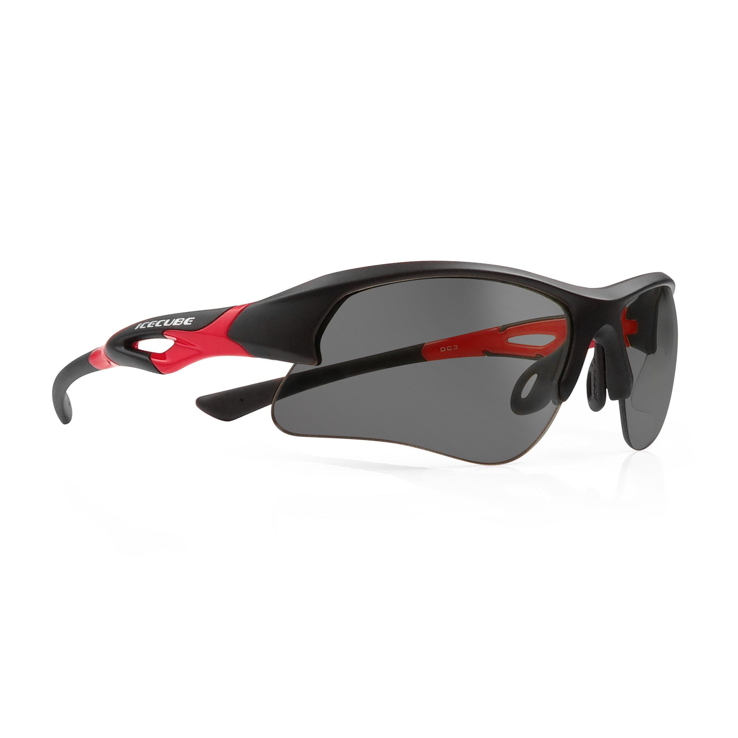 ICECUBE Asian Fit Photochromic Polarized Sports Sunglasses | Men or Women| UV Protection | TR90 Ultra Light | Suitable for Running, Driving, Beach, Fishing - TRIDENT (BLK / RED, Grey Polarized)