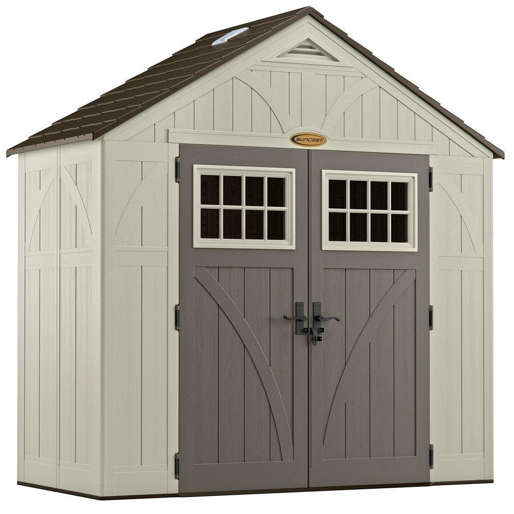 Suncast 4' x 8' Tremont Storage Shed with Windows - Outdoor Storage for Backyard Tools and Accessories - All-Weather Resin Material, Transom Windows and Shingle Style Roof by Suncast