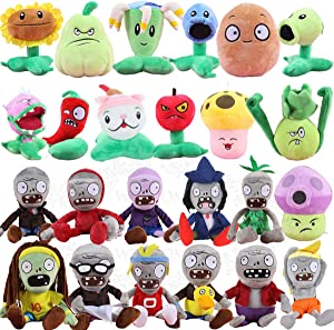 TavasDecor Plants vs Zombies 2 PVZ Figures Plush Toys Set (24pcs) Baby Staff Toy Stuffed Soft Doll Lot 15-20cm/6-8'' Tall