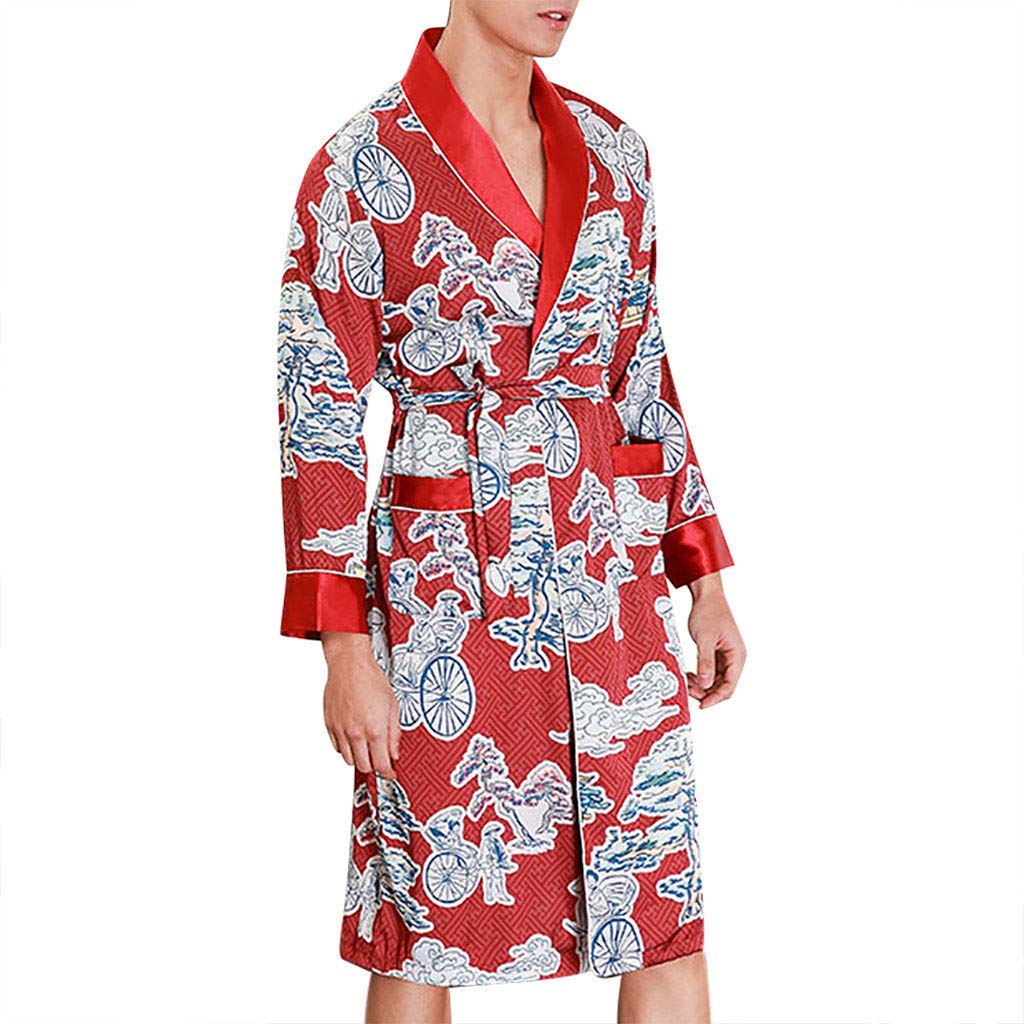 Men Simulation Silk Print Pajamas Turn Down Collar Robe Bathrobe with Belt Dressing Gown Wine