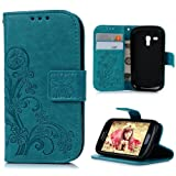Galaxy S3 Mini Case Cover - Lanveni Four Leaf Clover Embossed Retro Premium PU Leather Magnetic Flip Wallet Cover with Detachable Hand Strap & Card Slots & Stand Function for Samsung Galaxy S3 Mini i8190 ( Not for Galaxy S3 ) , Teal