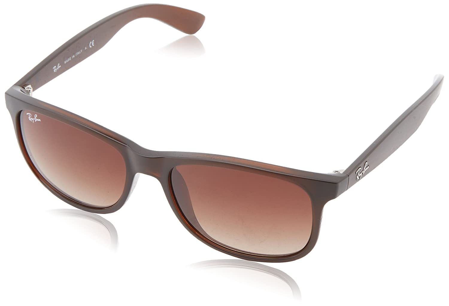 Ray-Ban RB4202 Andy Rectangular Sunglasses, Matte Brown/Brown Gradient, 55 mm