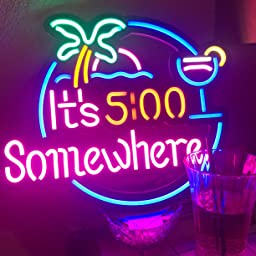 It S 5 00 Some Where Parrot Led Neon Sign Art Wall Lights For Beer Bar Club Bedroom Windows Glass Hotel Pub Cafe Wedding Birthday Party Gifts Amazon Com