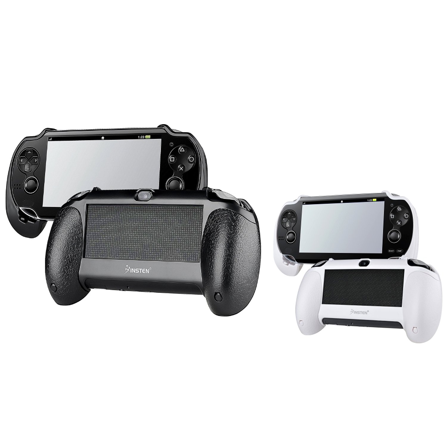 Insten 2 packs of Hard plastic with rubber coating Hand Grip: Black, White Compatible With Sony PlayStation Vita by INSTEN