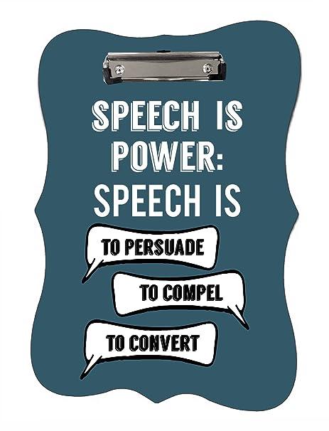 Amazon.com: Speech is Power- Pizarra de 2 caras, diseño de ...