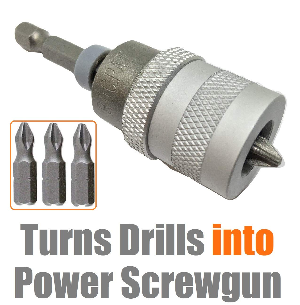 ELECTRIC DRILL to SCREWGUN CONVERTER Adjustable Clutch Drywall Tool Screw Depth Setter w/Manganese S2 Phillips 2 Screwdriver Bit | Countersink Plywood Deck PH2 Screws | 1/4 Shank Fits Corded Cordless by Mars-Tool