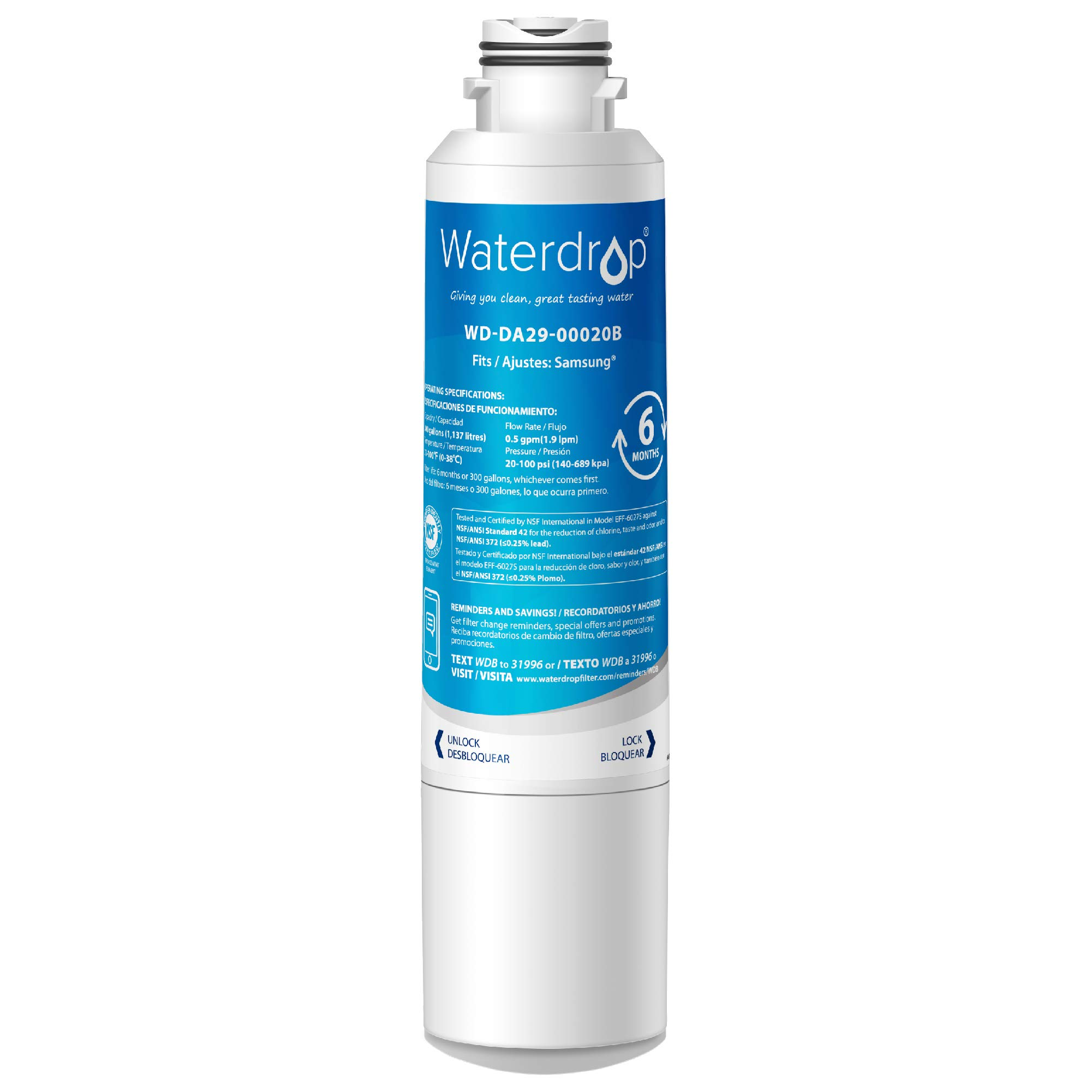 Waterdrop DA29-00020B Replacement Refrigerator Water Filter, Compatible with Samsung DA29-00020B, DA29-00020A, HAF-CIN/EXP, 46-9101