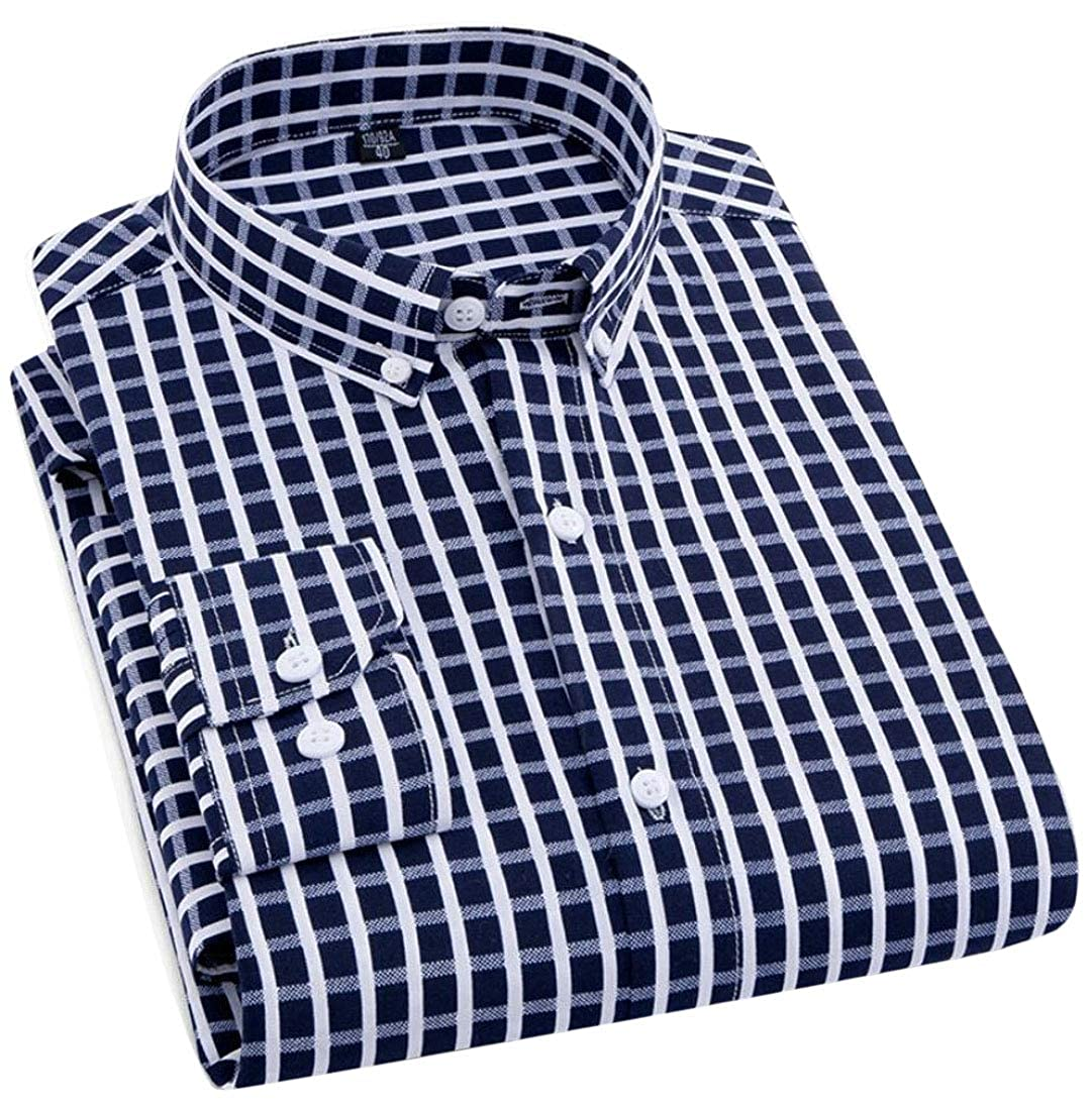 Mens Button Down Shirt Slim Fit Long Sleeve Dress Shirt Tops