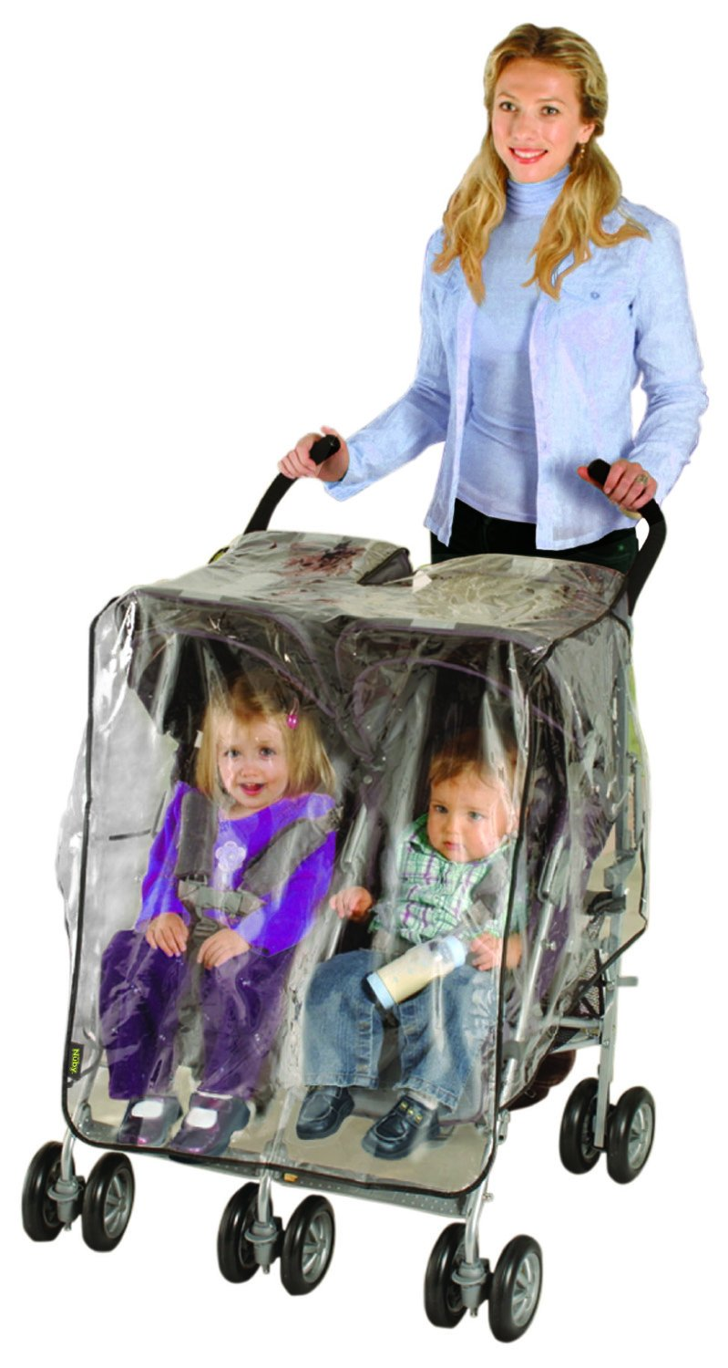 Nuby Universal Size Twin Stroller Rain Cover, Clear Vinyl Plastic