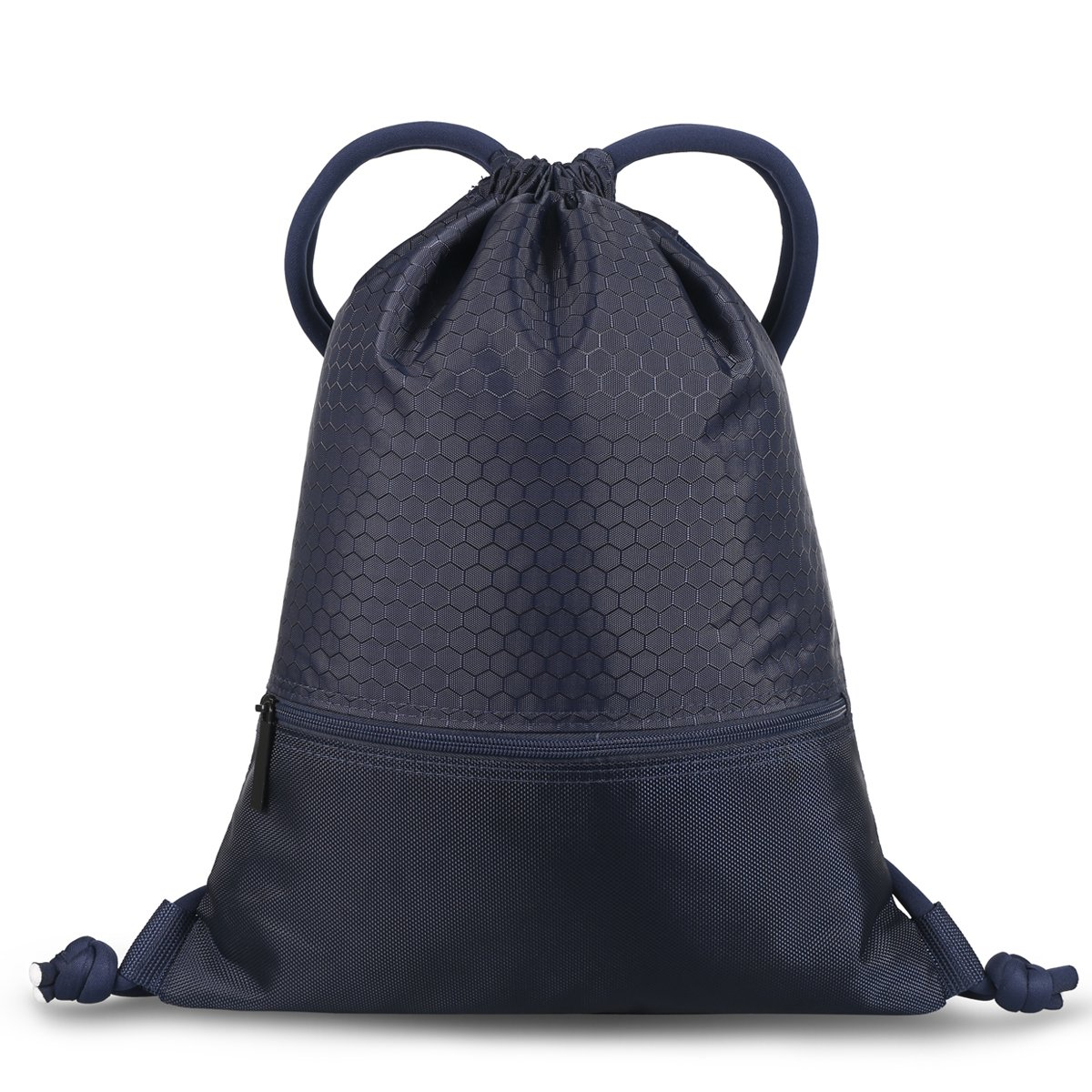 Double Sturdy Drawstring Bag With Pockets Waterproof | For Sports & Workout Gear | Large Capacity String Backpack | 8 Colors (Large, Navy) by Haoguagua (Image #2)