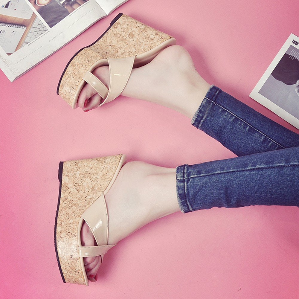 Clearance Sale High Heels For Women,Farjing Fashion Summer Women Thick Bottom Slope And Peep Toe Casual Sandals High Heels(US:6,Beige )