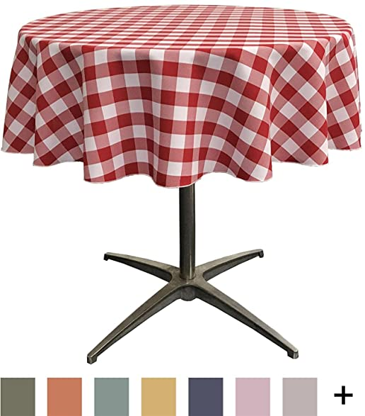 LA Linen Poly Checkered Round Tablecloth, 51 Inch, Red/White
