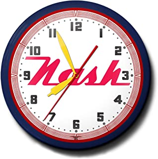 """product image for Nash Motors Automobile Car Logo Emblem Neon Wall Clock 20"""" Made In USA, 110V Electric, Aluminum Spun Case, Powder Coated Finish, Glass Face, Brass Movement, Pull Chain, 1 Year Warranty"""