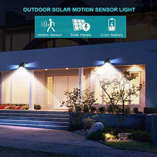 Pack of 4 InnoGear SL412 2nd Version 14 LED Solar Rear Projection Outdoor Motion Sensor Activated Security Night Light Auto on//Off Wall Lamp for Path Patio Yard Deck Porch Garden Fence
