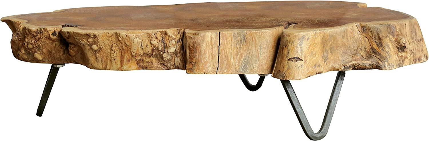 Creative Co-op Raw Edged Wood Slab with Metal Feet