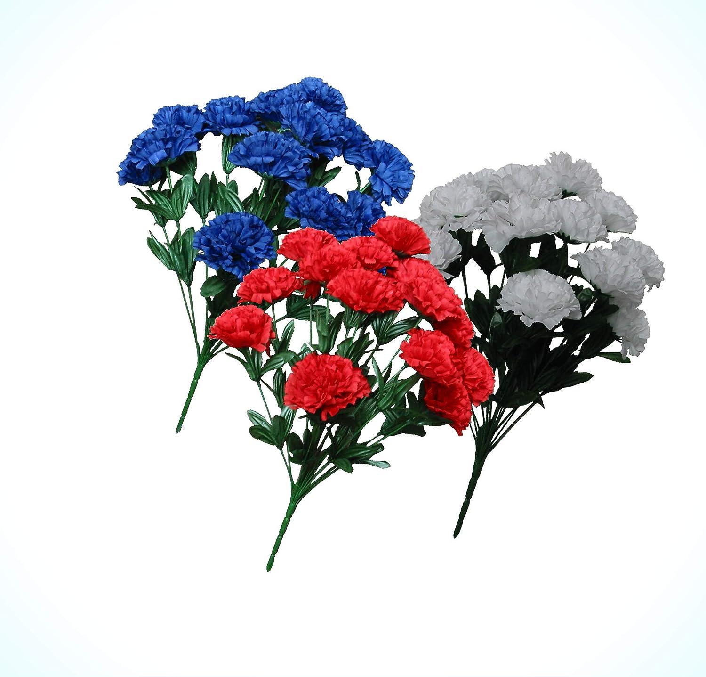 Amazon Com Artificial 42 Carnations 3 20 Bushes Usa Patriotic Silk Flower Red White Blue Flowers Bouquet Realistic Flower Arrangements Craft Art Decor Plant For Party Home Wedding Decoration Home Kitchen