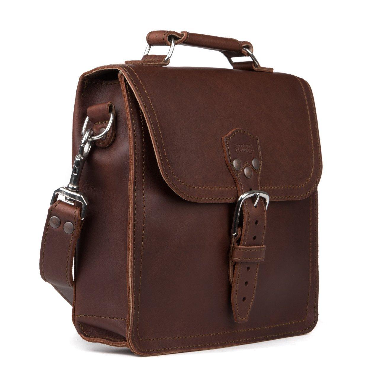 Saddleback Leather Co. Indiana Messenger Gear Bag Full Grain Leather Slim Satchel for Men Includes 100 Year Warranty.