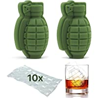 Molde para cubitos de hielo en forma de granada 3D, para cóctel, hielo, bolas de hielo, regalo perfecto para hombres, fanáticos militares, bar, fiesta, 2 paquetes + 10 bolsas de cubitos de hielo