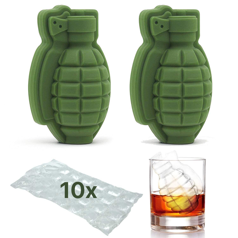 Eiswürfelform in Form von 3D-Handgranaten - Whisky, Cocktail, Eiskugel, Tablett | perfekte Geschenkidee für Männer, Militär-Fans, Bar, Party | 2er PACK und BONUS 10 EISWÜRFEL-BEUTEL