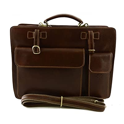 Dream Leather Bags Made in Italy Genuine Leather Genuine Leather Business Bag Mod. Medium Color Brown