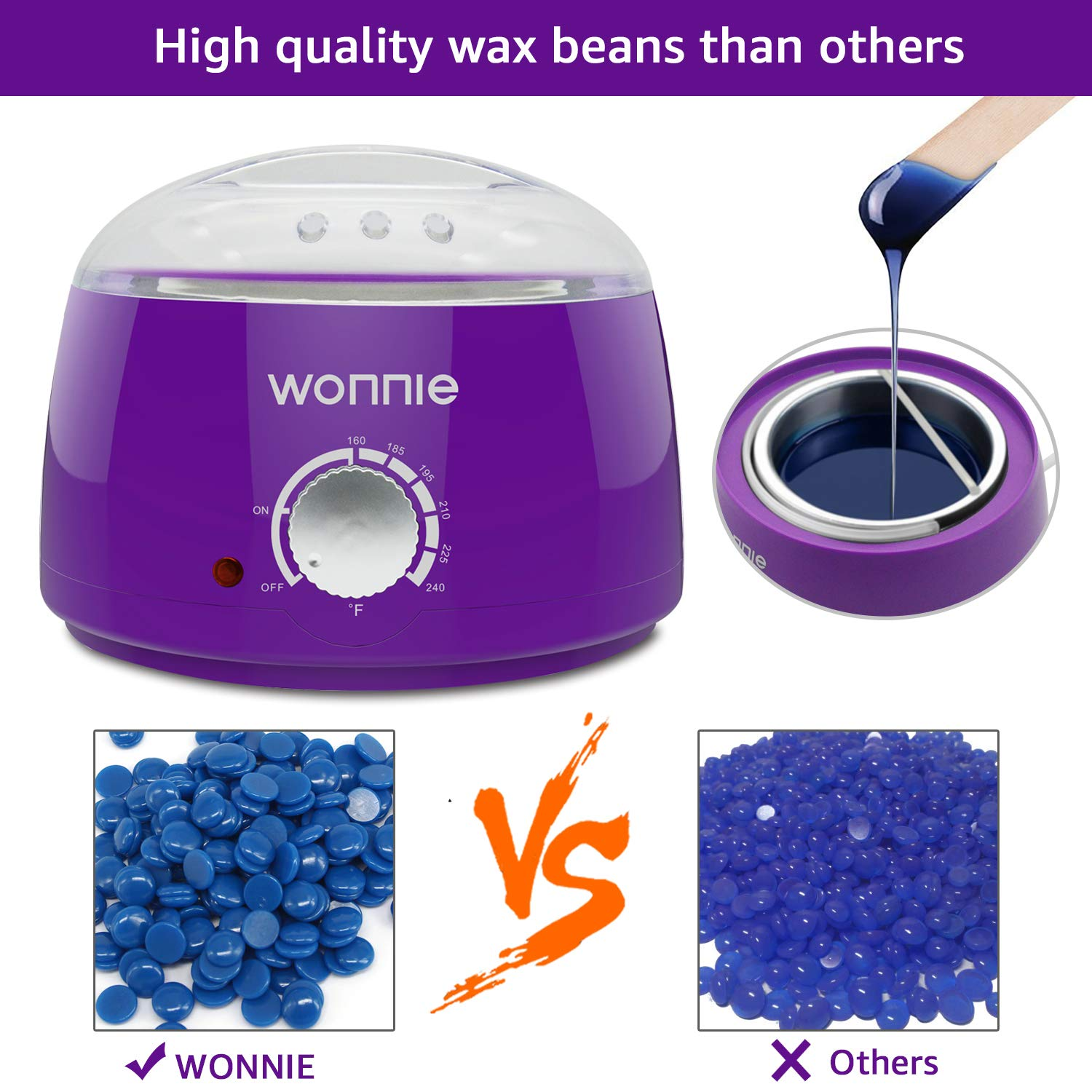 WONNIE Wax Heater Pot Waxing Kits Professional Full Kit with 3 Packs of Hard Wax Beads Electric Wax Warmer Hair Removal with 20 Wooden Sticks for Body Legs Bikini Limber