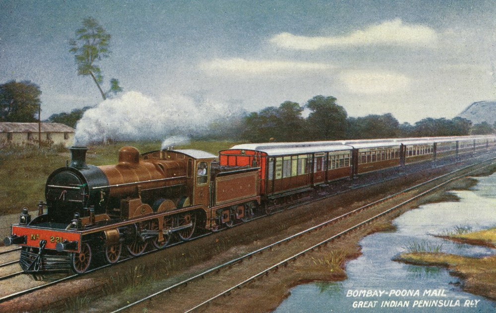 India - View of the Bombay-Poona Mail Train (12x18 Art Print, Wall Decor Travel Poster)