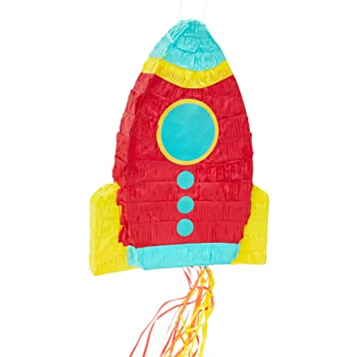 Juvale Small Rocket Ship Pinata, Kids Space Themed Birthday Party Supplies, 16.5 x 12.5 x 3 Inches: Toys & Games