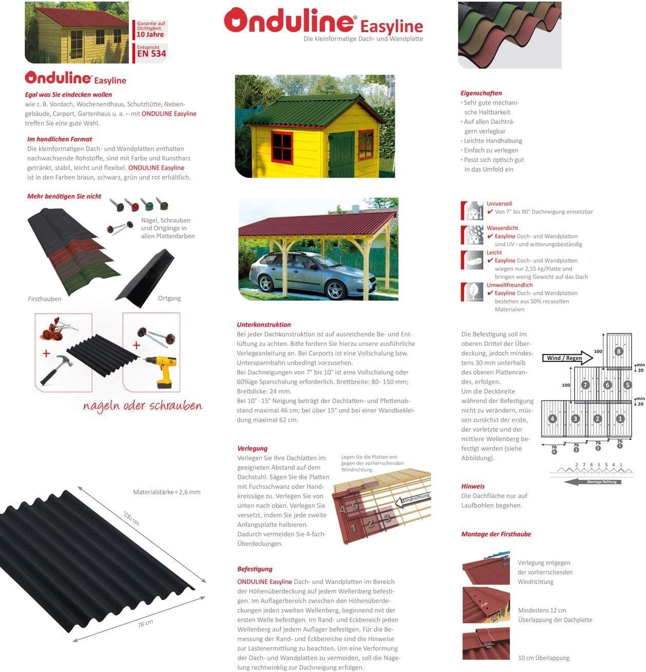 rot Onduline Easyline Dachplatte Wandplatte Trapezblech Wellplatte 5x0,76m/²
