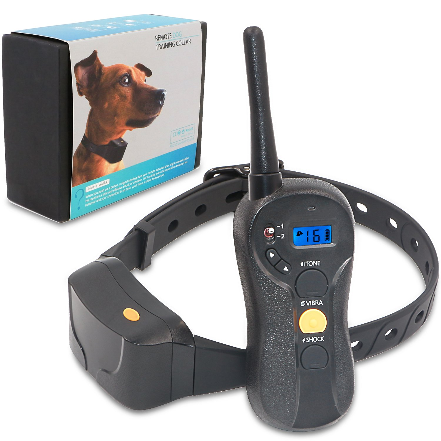 Brefac Shock Collar for Dogs, Dog Training Collar with Remote Electric Shock Vibration Beep, Rechargeable and 100% Waterproof, for Large Small Medium Dogs Sport Trainer E-Collars (8-100lbs)