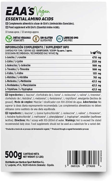 Aminoácidos Esenciales en Polvo de HSN | EAAs (Essential Amino Acids) | Síntesis de Proteínas + Aumento de Masa Muscular + Recuperador Muscular | ...