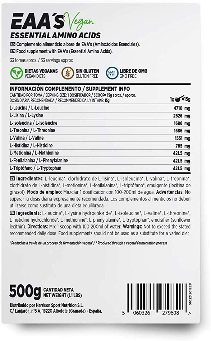 Aminoácidos Esenciales en Polvo de HSN   EAAs (Essential Amino Acids)   Síntesis de Proteínas + Aumento de Masa Muscular + Recuperador Muscular   ...