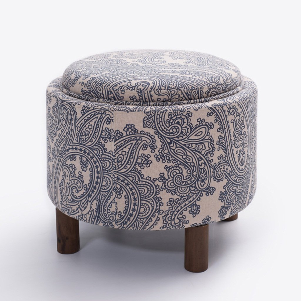 B Wei Zhe- Storage Stool Solid Wood Stool Fabric Simple Modern shoes Bench Leisure Sofa Chair-49  49  42cm Household Storage Stool (color   A)