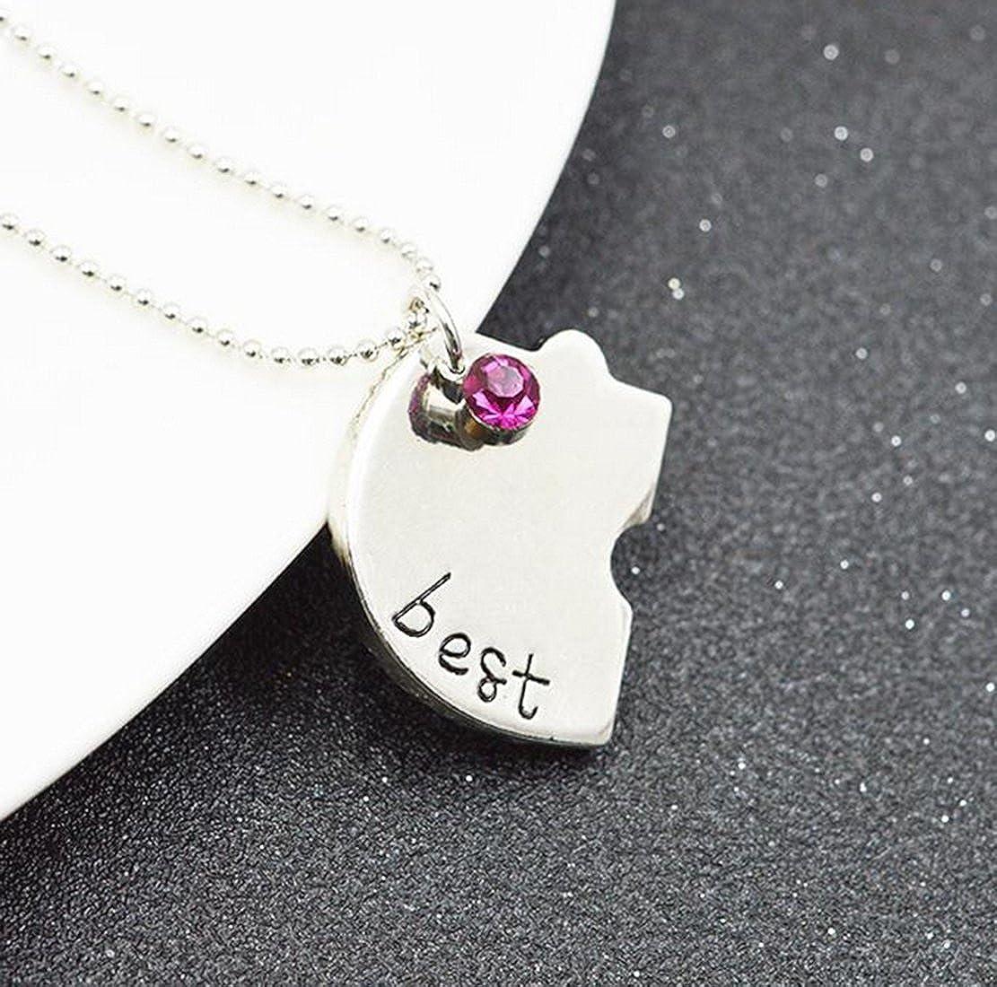 1314f80df106 Fengteng Mejores Amigos para Siempre y para Siempre Amistad Amor Collar de  Diamantes de Costura Empalme Corazón Roto Collar 4 Piezas  Amazon.es   Joyería