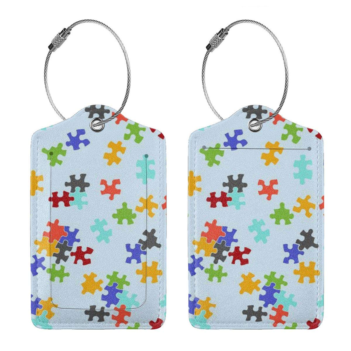 GoldK Autism Puzzle Leather Luggage Tags Baggage Bag Instrument Tag Travel Labels Accessories with Privacy Cover