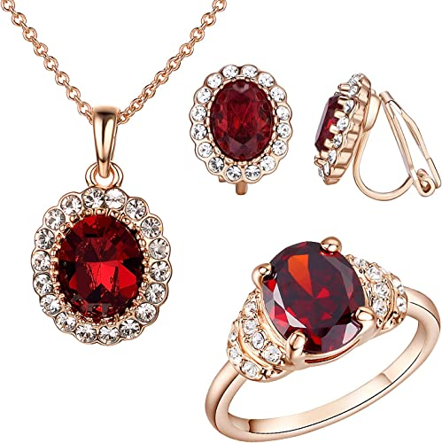 Yoursfs Set of Necklace and Earrings and Ring Women 18ct Rose Gold Plated Fashion Red Ruby Jewellery Sets Bride Wedding Gift