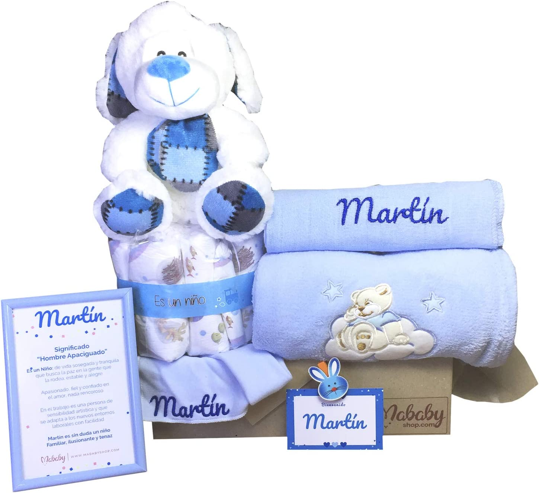 MabyBox Teddy Bear   Canastilla Bebé   Regalo Bebé Personalizado   Canastilla Regalo Recién nacido   Regalo Babyshower   Cesta Bebé Personalizada (Azul)
