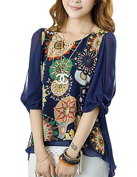 Blusa de raso para mujer, estampado floral, suelta, talla plus, espalda plisada