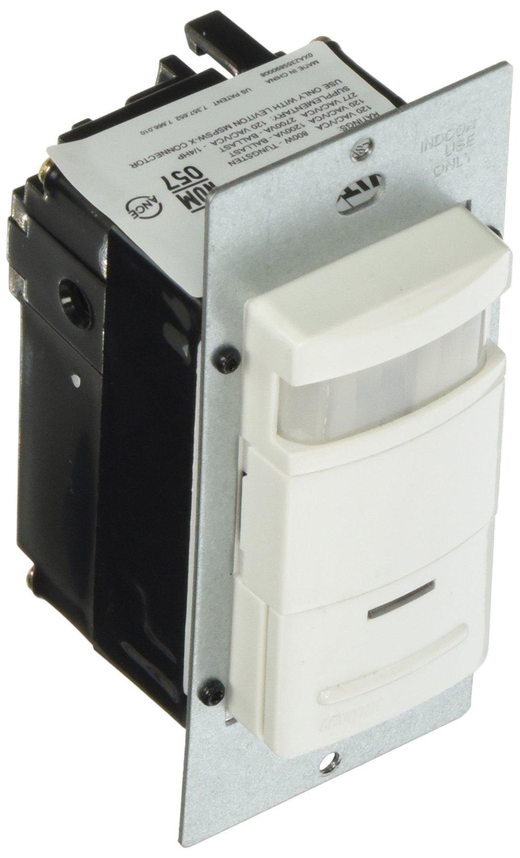 Leviton MDS10-I Lev-Lok Modular Wiring Device DW PIR Wall Switch Occupancy Sensor, White